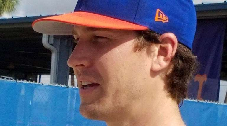 Jacob deGrom talks to the media at the