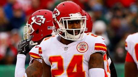 Darrelle Revis of the Chiefs looks on against