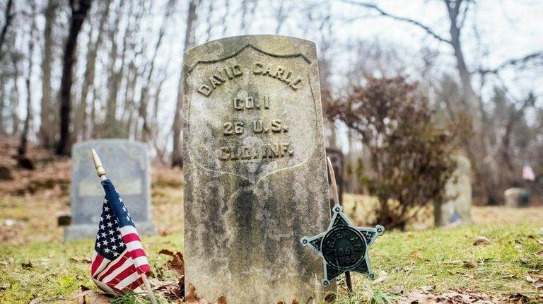 The gravestone of Civil War veteran David Carll