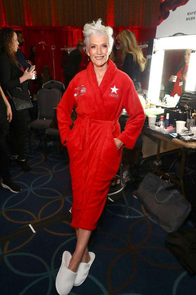Model Maye Musk poses backstage.