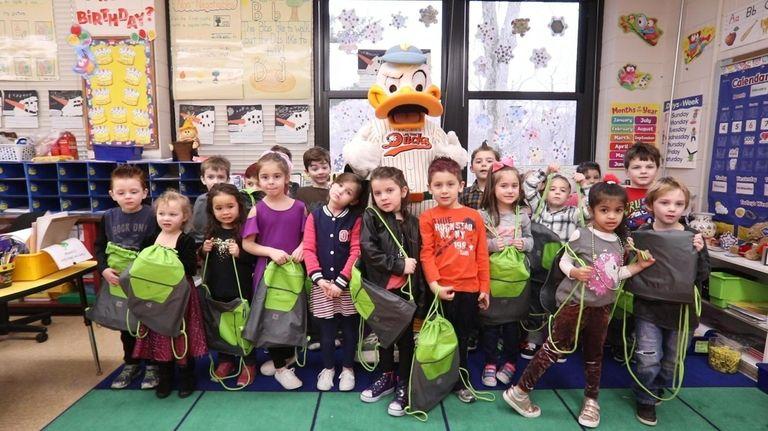 The Long Island Ducks mascot Quackerjack, onFriday, Feb.