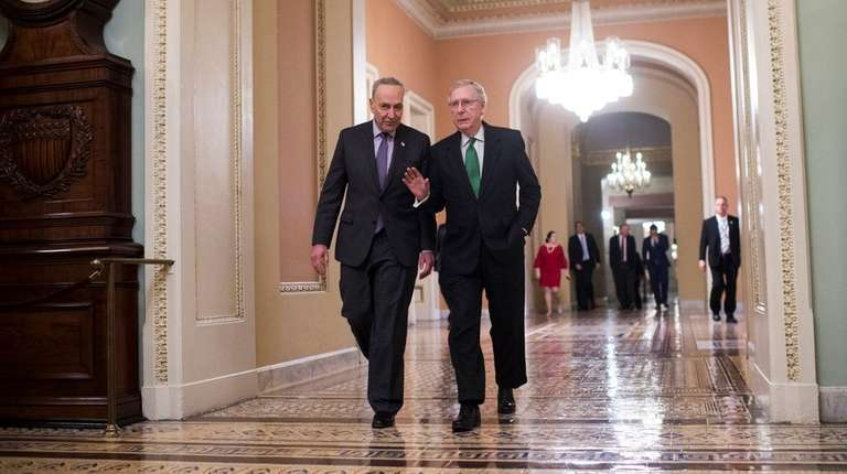 Senate Majority Leader Mitch McConnell, R-Ky., right, and