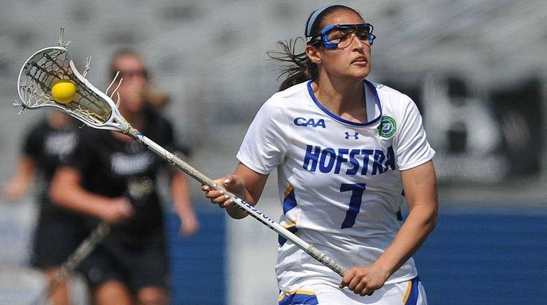 Hofstra's Alyssa Parrella looks to shoot against Towson