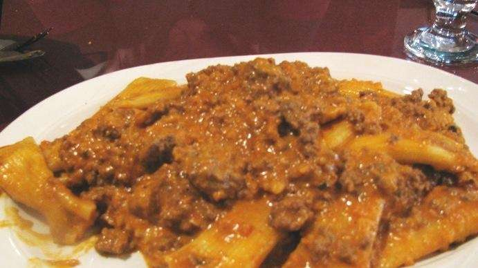 Stuffed rigatoni in Bolognese sauce at Fanelli's in