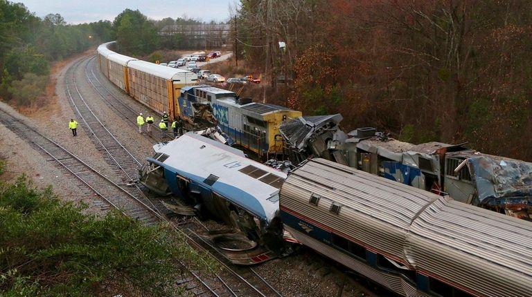 The scene of a fatal Amtrak train crash