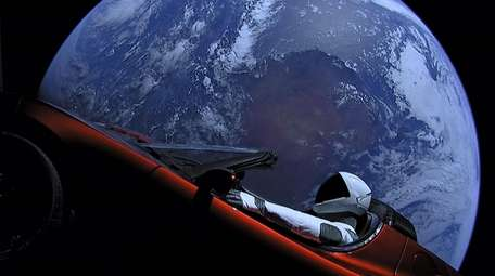 In a photo provided by SpaceX, a Tesla