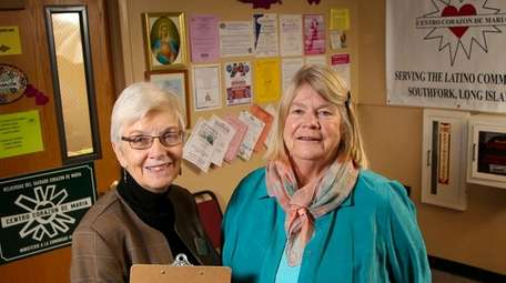 Sister Mary Beth Moore, left, of the immigrant