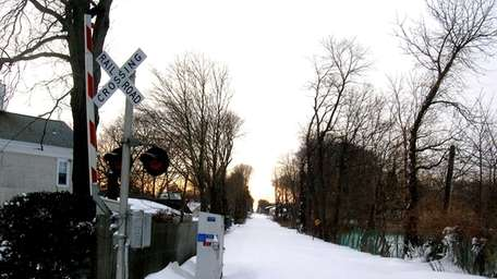 The LIRR track in Riverhead was unplowed at