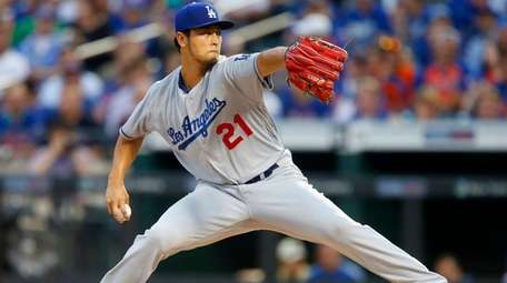 Yu Darvish #21 of the Los Angeles Dodgers