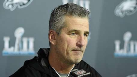 Frank Reich speaks to the media during Super