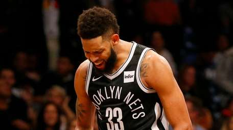 Allen Crabbe #33 of the Brooklyn Nets reacts