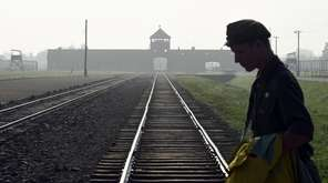 The iconic rails leading to the former Nazi