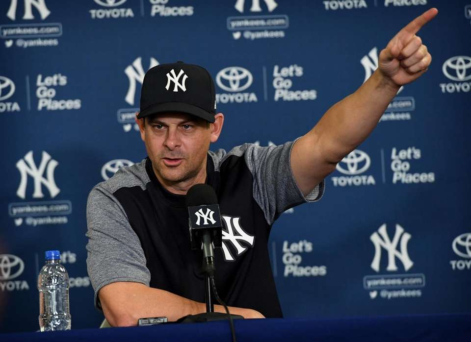 Yankees manager Aaron Boone speaks to media during