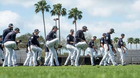 Yankees' pitchers warm up at George M. Steinbrenner