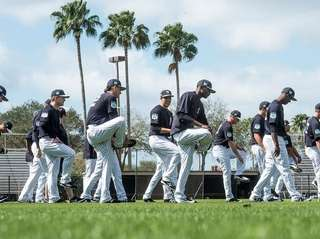 Yankees' pitchers warm up at George M. Steinbrenner