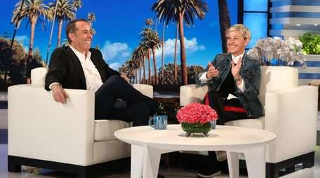 Jerry Seinfeld talks to Ellen DeGeneres on Tuesday,