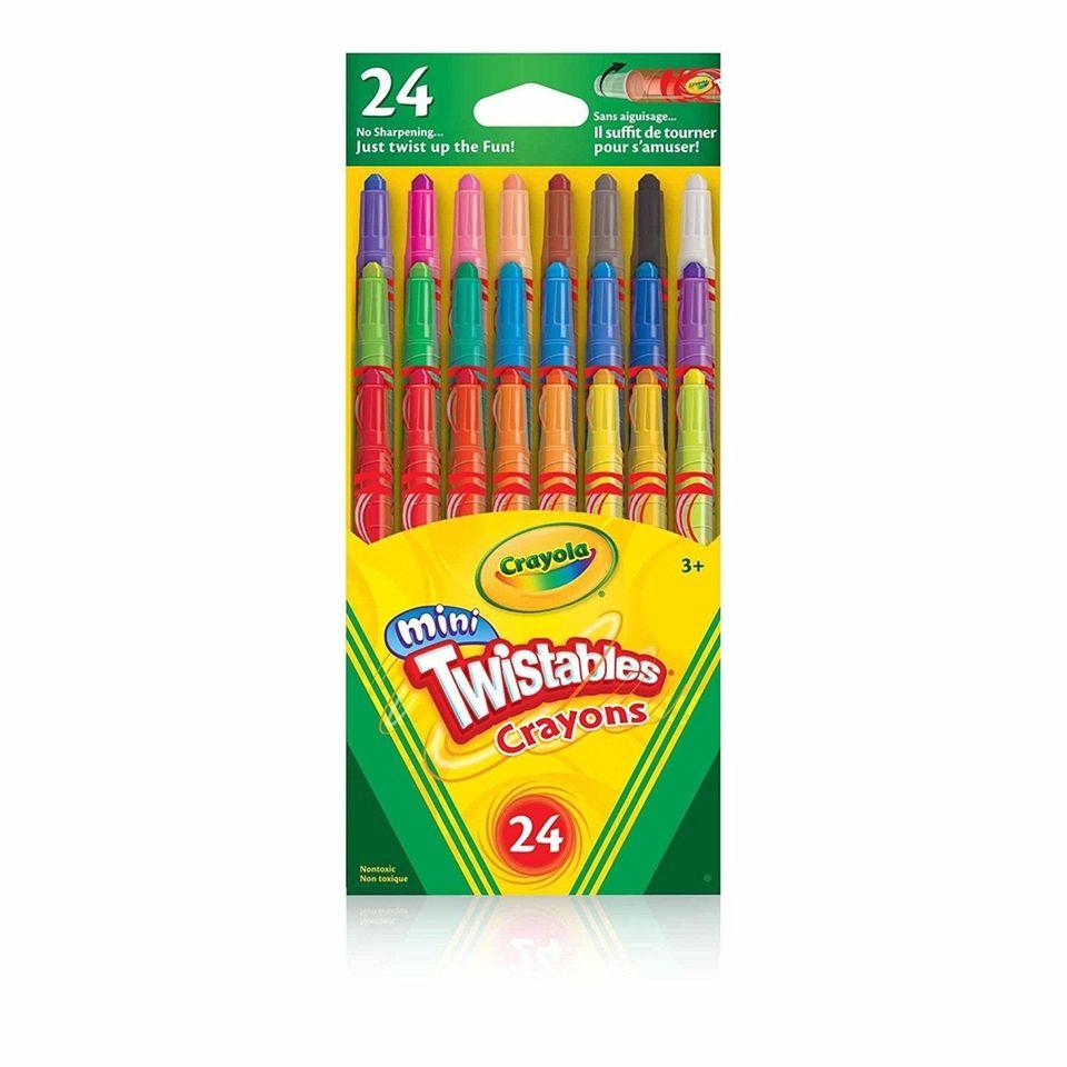 Twenty-four crayons, each in a plastic barrel that