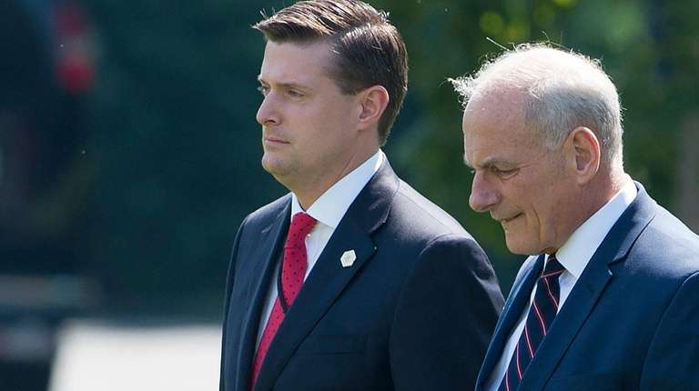 Then-White House staff secretary Rob Porter, left, and