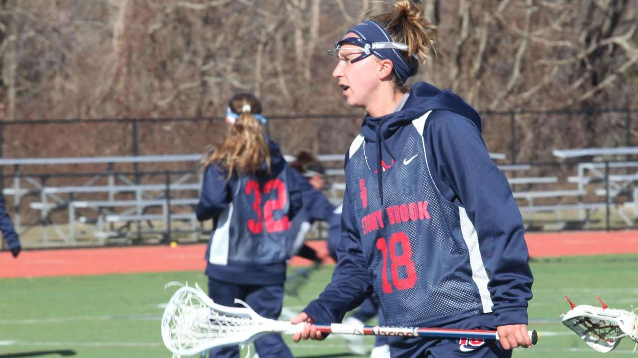 Stony Brook women's lacrosse players practice on Tuesday,