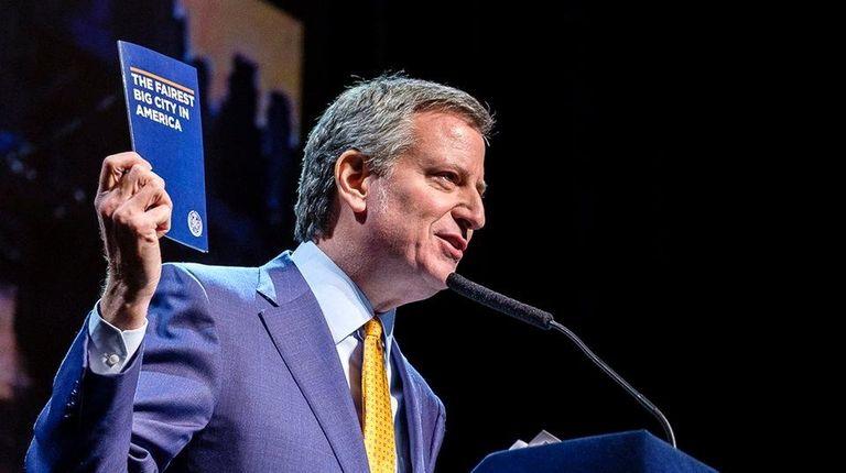 NYC Mayor Bill de Blasio delivers his 2018