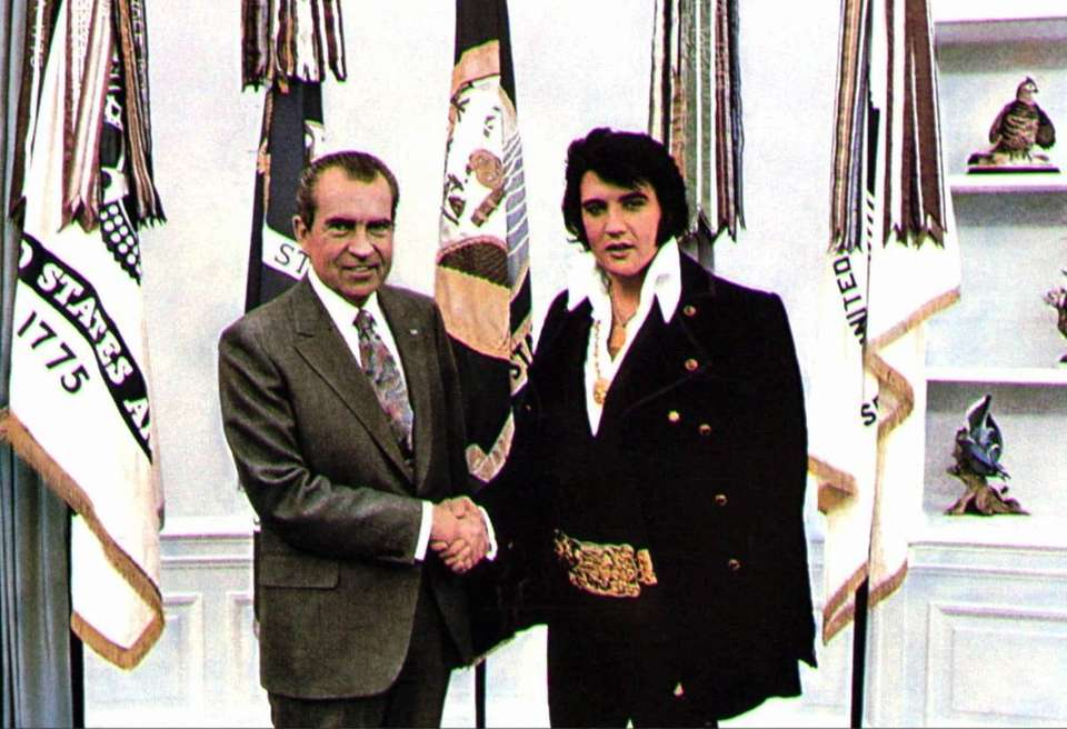 President Richard Nixon meeting with Elvis Presley on