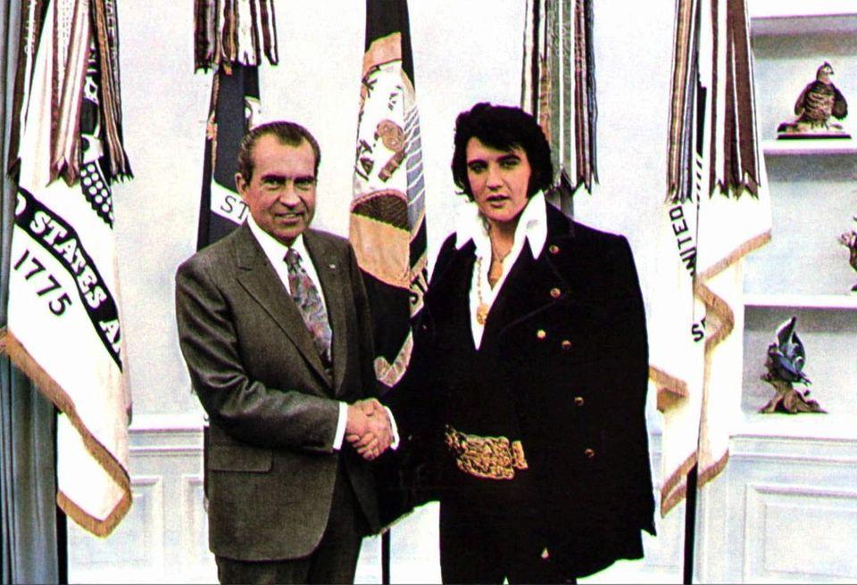 President Richard Nixon meeting with Elvis Presley on