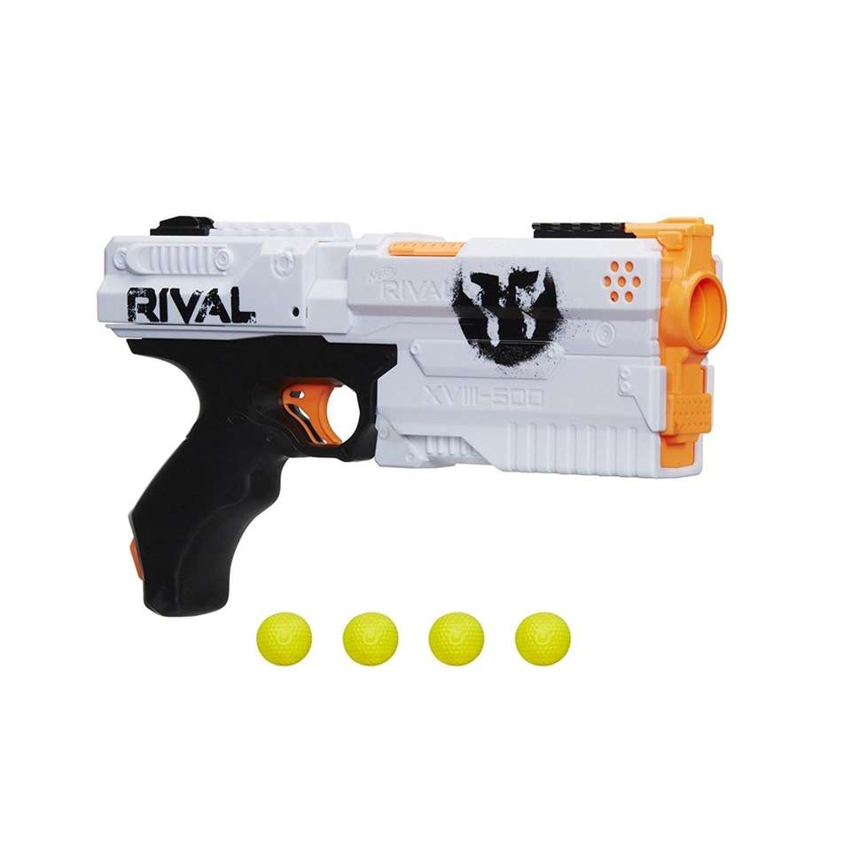 This Nerf blaster gun comes with two flags