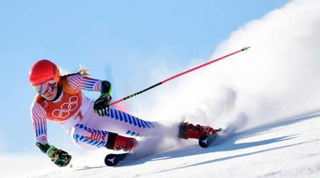 USA's Mikaela Shiffrin competes in the Women's Giant
