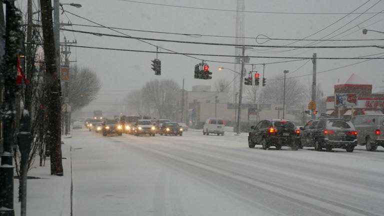 Jericho Turnpike in Mineola gets a coating of
