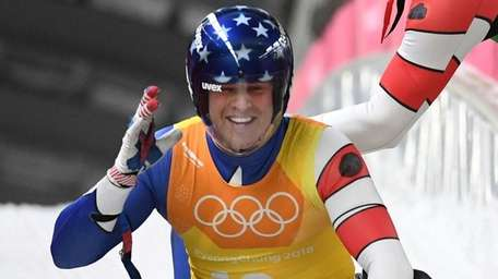 USA's Matthew Mortensen celebrates after competing with Chris