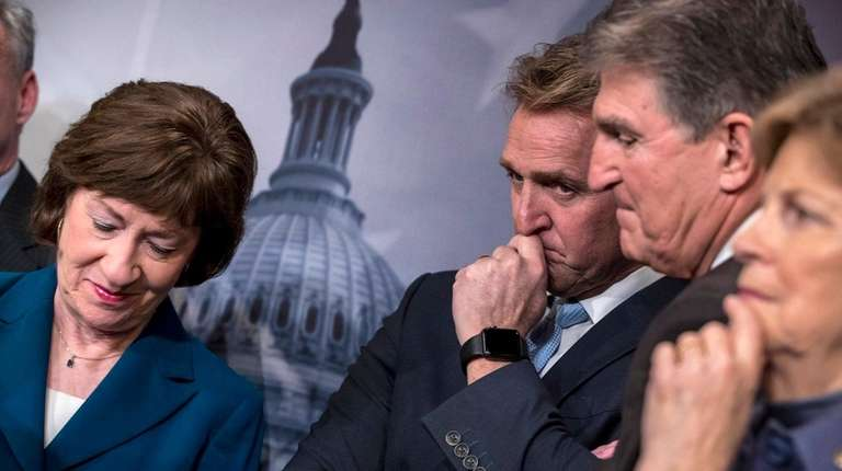 From left, Sen. Susan Collins, Sen. Jeff Flake,
