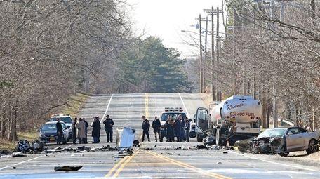 The scene of a multivehicle crash on Wednesday,