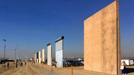 Prototypes of border walls in San Diego, photographed