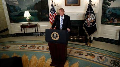 President Donald Trump speaks at the White House