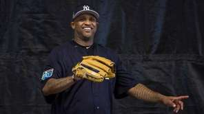 New York Yankees pitcher C.C. Sabathia works out