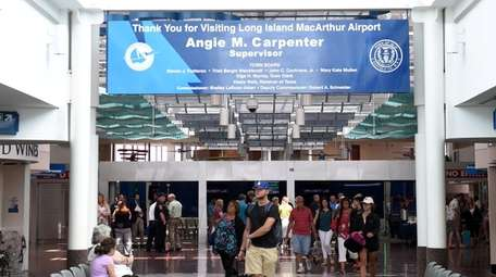 Passengers at Long Island MacArthur Airport on July