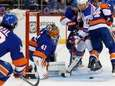 Jaroslav Halak of the Islanders makes a save