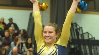 Amanda Ferraro of Bethpage completes her performance on