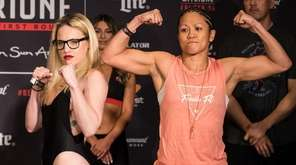 Heather Hardy, left, and Ana Julaton at the