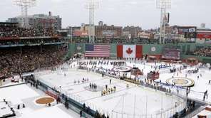 The Philadelphia Flyers, left, and Boston Bruins, right,
