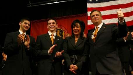 Ed Mangano with his wife, Linda, and sons,