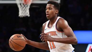 Knicks guard Frank Ntilikina brings the ball upcourt