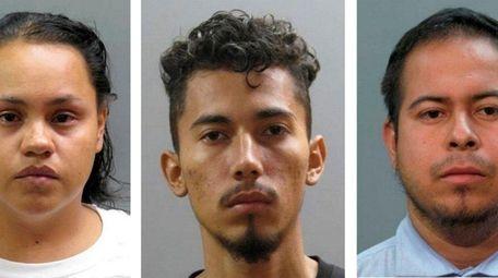 Murder suspects Laura Campos, Kevin Granados-Coreas and Carlos