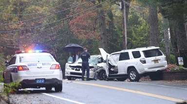 Suffolk County police investigate a fatal crash on