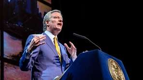NYC Mayor Bill de Blasio delivers his 2018