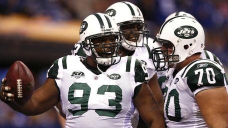 Marques Douglas of the New York Jets celebrates