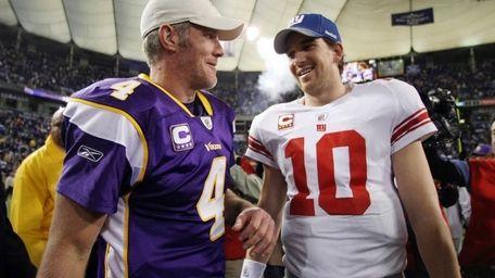 Minnesota's Brett Favre and the Giants' Eli Manning