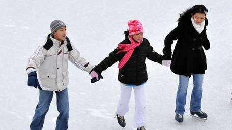 Despite the cold weather, the ice skating rink