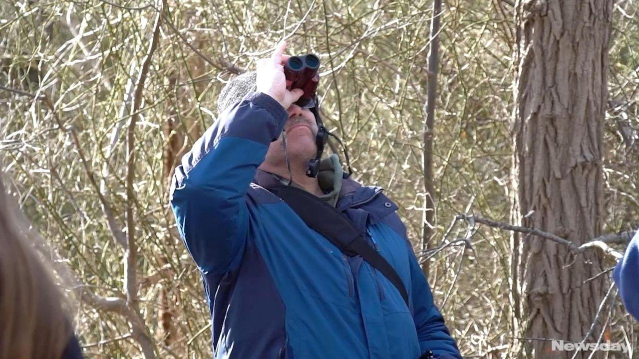 Bird-watchers took a three-mile walk throughthe William Floyd
