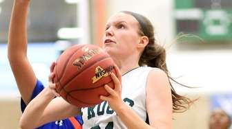 Carle Place's Erin Leary drives for the basket